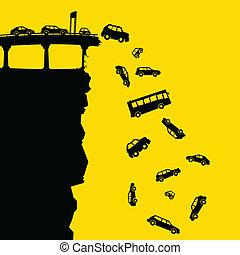 spento, autostrada, scogliera