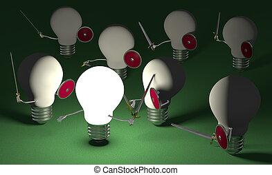 spento, commutato, luce, contro, ardendo, ones, verde, combattimento, molti, bulbo