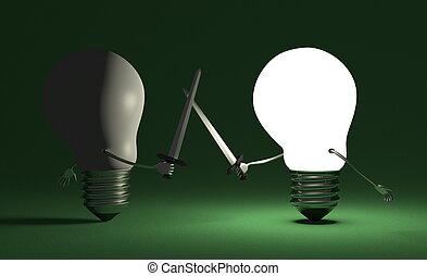 spento, commutato, luce, contro, uno, ardendo, verde, combattimento, bulbo