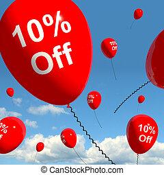 spento, dieci, balloon, percento, vendita, 10%, scontare, ...