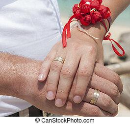 spento, esposizione, sposato, anelli, loro, matrimonio, recentemente, coppia
