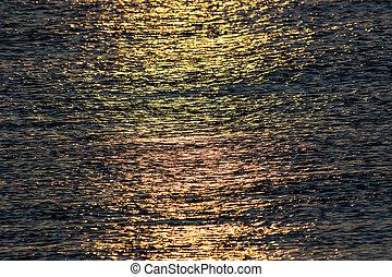 spento, mare, astratto, sunrise., luce sole, acqua, riflettere, struttura, fondo, immagine, calma