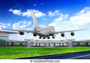spento, moderno, runway., prendere, aeroporto., aeroplano