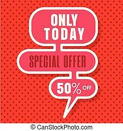 spento, offerta, immagine, 50%, soltanto, vettore, speciale, fondo, oggi, rosso