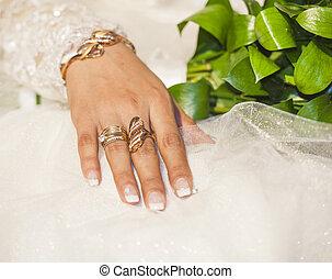 spento, oro, jewelery, esposizione, mano, spose