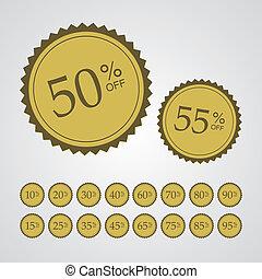spento, percentuale, adesivi, oro