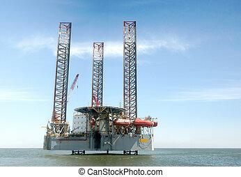 spento, riva, petrolio facendo, piattaforma