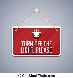spento, signboard., favore, luce, turno, vettore, illustrazione