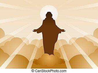 speranza, credenza, fede, iniziare, media, cristo, indietro, gesù, nuvola, luce