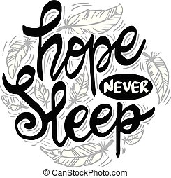 speranza, motivazionale, sleeps., quote., mai