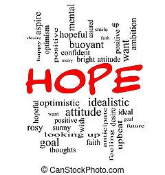 speranza, parola, nuvola, concetto, in, rosso, cappucci