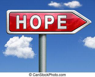 speranza, strada, segno freccia