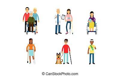 speranzoso, set, vivente, fondo, vita, crutches, vettore, illustrazione, persone, isolato, normale, bianco, invalido, sedie rotelle