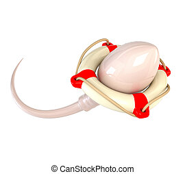 Sperm and lifebuoy isolated on white background. Concept for successful fertilization. 3d illustration.