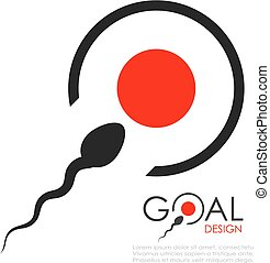 Sperm bank logo idea - Reach your goal abstract icon, sperm...