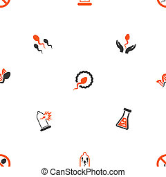 Sperm glyph repeatable pattern. Style is flat orange and gray icon symbols on a white background.