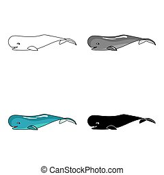 Sperm whale icon in cartoon style isolated on white...