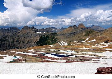 sperry, glaciar, paisaje, -, montana