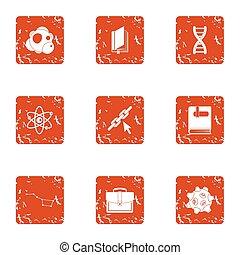 spessore, di, materiale, icone, set, grunge, stile