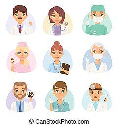 spetialists, set., vecteur, médecins