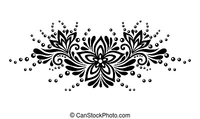 spets, bladen, isolerat, element, svart, white., blom formgivning, vita blommar, style., retro