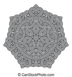 spets, mönster, samtidig, tallriksunderlägg, blommig, runda