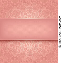 spets, mall, ornamental, rosa blommar, bakgrund