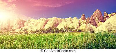 spettacolare, pietre, formazioni, in, cappadocia