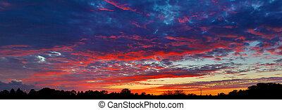 spettacolare, suburbano, cielo tramonto