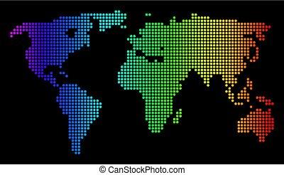 spettro, mondo, pixel, punteggiato, mappa