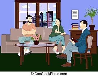 spezialist, stil, frau, 10., illustration., familie unterstützung, zentrieren, eps, gefuehle, couch, therapie, realistisch, vektor, beziehung, hochzeit, beraten, icon., mann, design.