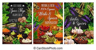 spezie, cottura, organico, erbe, negozio, spezia