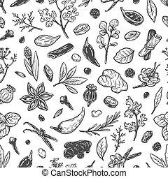 spezie, pattern., erbe, &