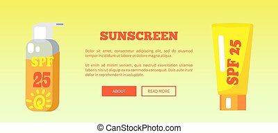 SPF Sunscreen Lotion Banner with Inscription - Spf sunscreen...