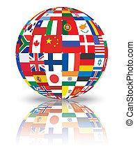 sphère, à, drapeaux