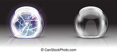 sphère, électrique, dôme, ou, balle verre, réaliste