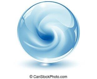 sphère, 3d, cristal, verre