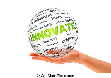 sphère, 3d, tenue, innover, main
