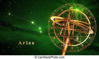 sphère armillaire, et, constellation, bélier, sur, arrière-plan vert