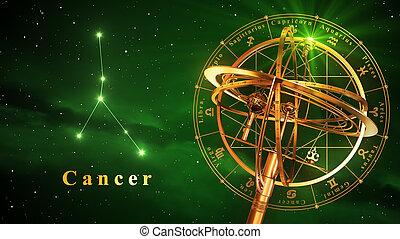 sphère armillaire, et, constellation, cancer, sur, arrière-plan vert