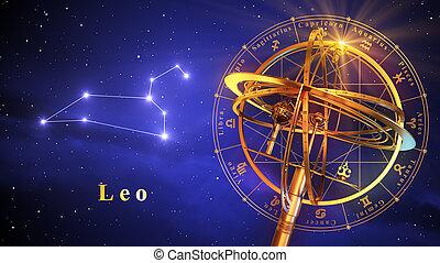 sphère armillaire, et, constellation, lion, sur, arrière-plan bleu