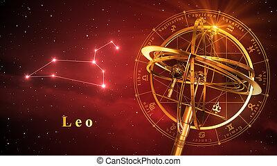 sphère armillaire, et, constellation, lion, sur, arrière-plan rouge