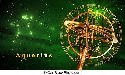sphère armillaire, et, constellation, verseau, sur, arrière-plan vert