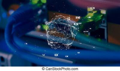 sphère, asymétrique, câble, fils