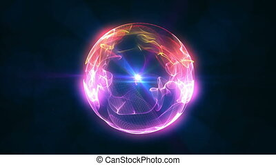sphère, balle, flamme, 4k, 3d