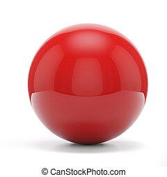 sphère, blanc rouge, fond, 3d