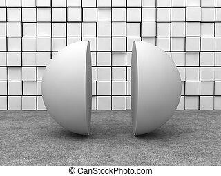 sphère, blanc, semi