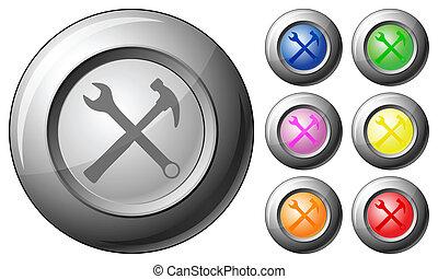 sphère, bouton, outils