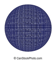 sphère, code, binaire, isolé