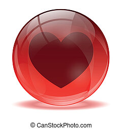 sphère, coeur, 3d, icône, verre